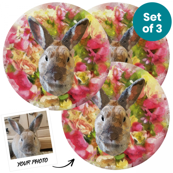 Pet Portrait Personalised Glossy Coasters
