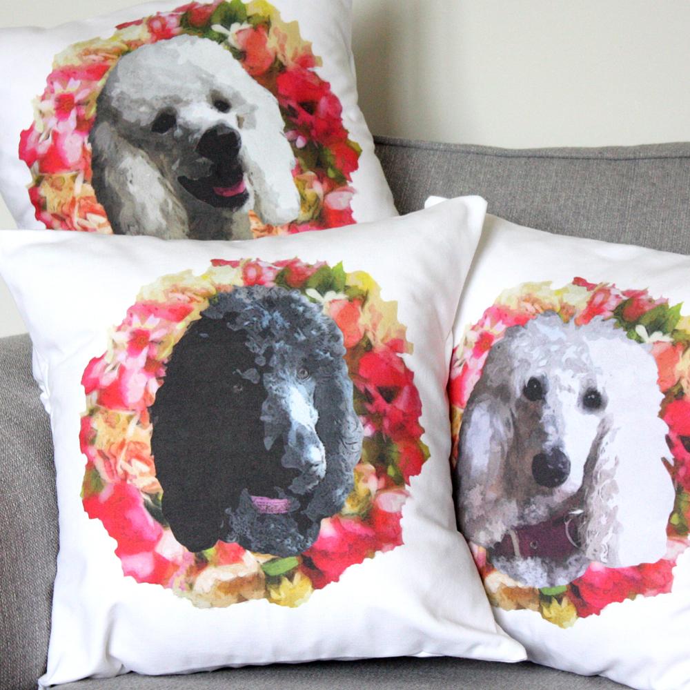 Poodle Pet Portrait Cushion Covers