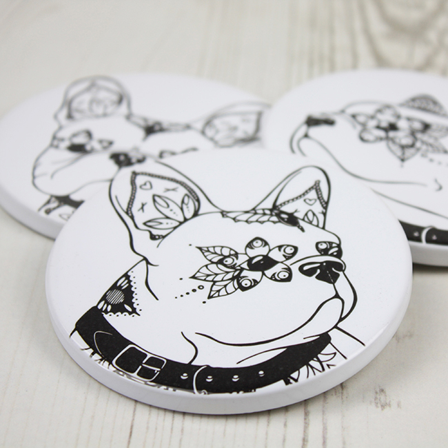 French Bulldog Ceramic Coasters